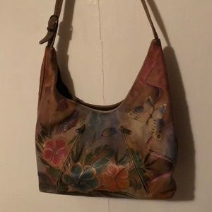 Anuschka genuine leather brown floral butterflies